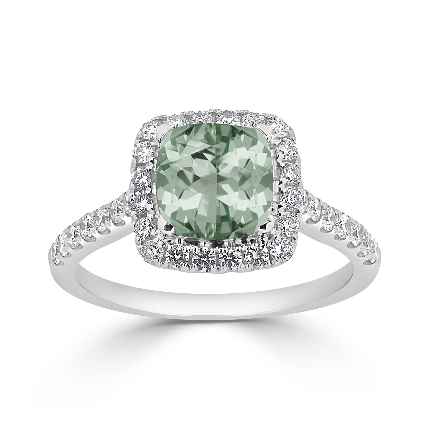 Halo Green Amethyst Diamond Ring in 14K White Gold with 0.85 carat Cushion Green Amethyst