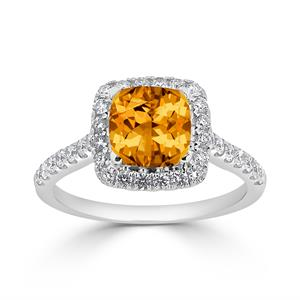 Halo Citrine Diamond Ring in 14K White Gold with 1.25 carat Cushion Citrine