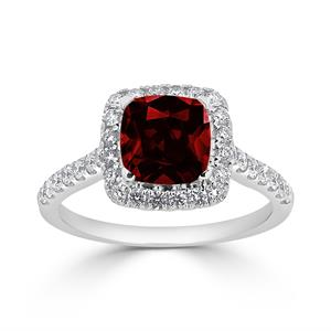 Halo Garnet Diamond Ring in 14K White Gold with 1.25 carat Cushion Garnet
