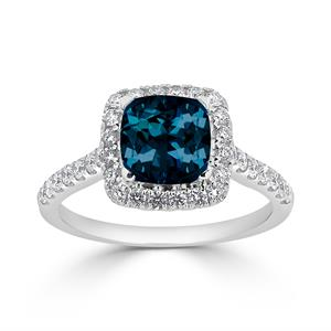 Halo London Blue Topaz Diamond Ring in 14K White Gold with 1.25 carat Cushion London Blue Topaz
