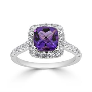 Halo Purple Amethyst Diamond Ring in 14K White Gold with 0.85 carat Cushion Purple Amethyst