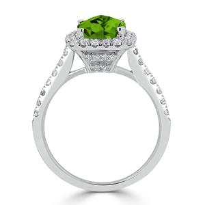 Halo Peridot Diamond Ring in 14K White Gold with 1.25 carat Cushion Peridot