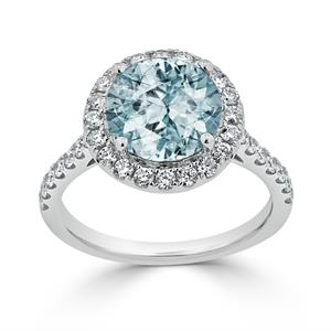 Halo Aquamarine Diamond Ring in 14K White Gold with 2.30 carat Round Aquamarine