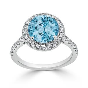 Halo Sky Blue Topaz Diamond Ring in 14K White Gold with 3.30 carat Round Sky Blue Topaz