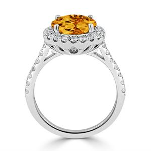 Halo Citrine Diamond Ring in 14K White Gold with 3.30 carat Round Citrine