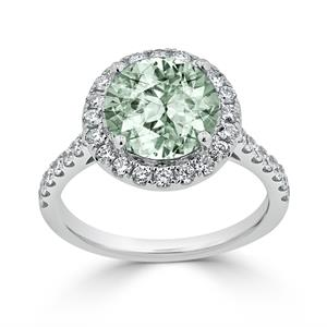 Halo Green Amethyst Diamond Ring in 14K White Gold with 2.30 carat Round Green Amethyst