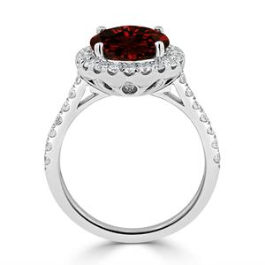Halo Garnet Diamond Ring in 14K White Gold with 3.30 carat Round Garnet