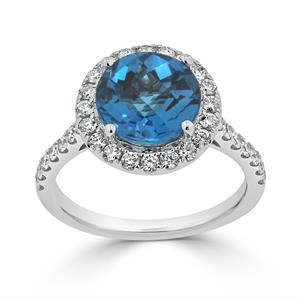 Halo London Blue Topaz Diamond Ring in 14K White Gold with 3.30 carat Round London Blue Topaz