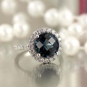 Halo London Blue Topaz Diamond Ring in 14K White Gold with 3.30 carat Round London Blue Topaz