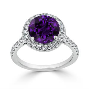 Halo Purple Amethyst Diamond Ring in 14K White Gold with 2.30 carat Round Purple Amethyst