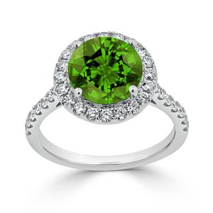 Halo Peridot Diamond Ring in 14K White Gold with 3.30 carat Round Peridot