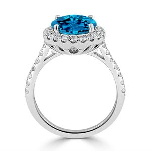 Halo Swiss Blue Topaz Diamond Ring in 14K White Gold with 3.30 carat Round Swiss Blue Topaz