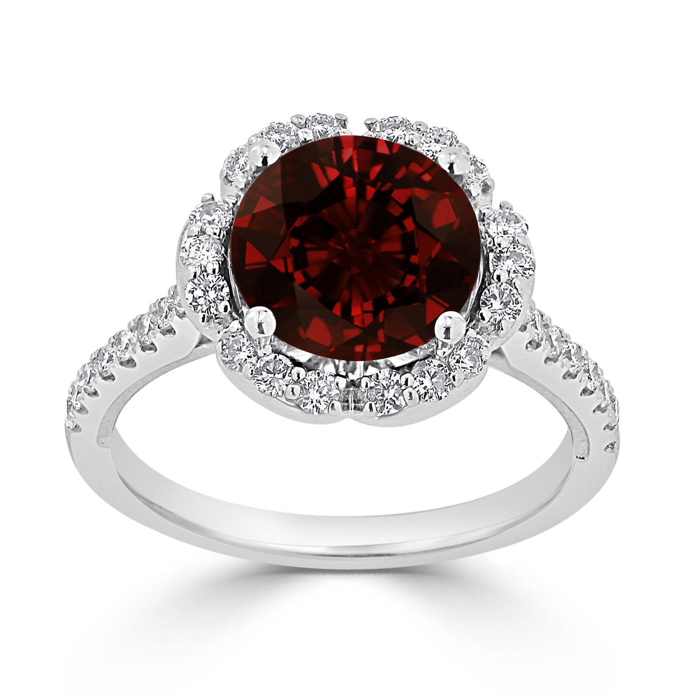 Halo Garnet Diamond Ring in 14K White Gold with 3.10 carat Round Garnet