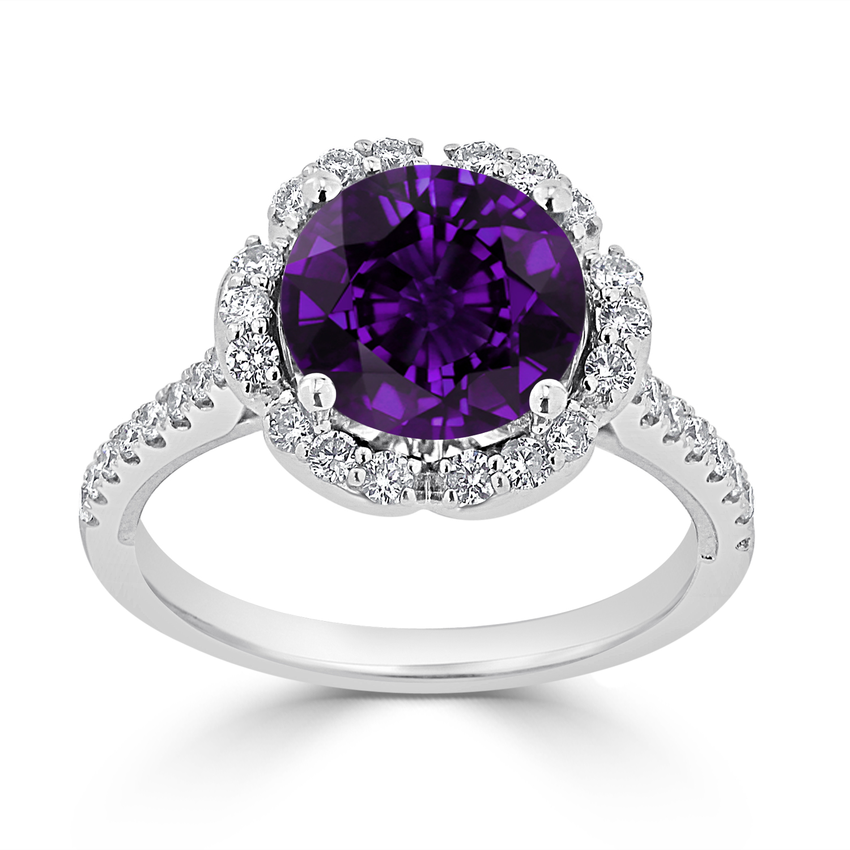 Halo Purple Amethyst Diamond Ring in 14K White Gold with 2.15 carat Round Purple Amethyst