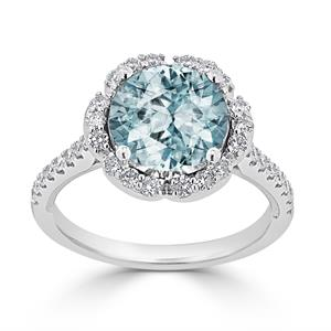 Halo Aquamarine Diamond Ring in 14K White Gold with 2.15 carat Round Aquamarine