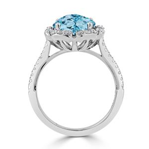 Halo Sky Blue Topaz Diamond Ring in 14K White Gold with 3.10 carat Round Sky Blue Topaz