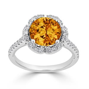 Halo Citrine Diamond Ring in 14K White Gold with 3.10 carat Round Citrine