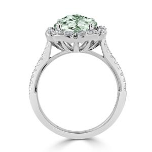 Halo Green Amethyst Diamond Ring in 14K White Gold with 2.15 carat Round Green Amethyst
