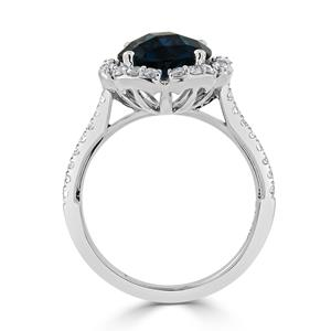 Halo London Blue Topaz Diamond Ring in 14K White Gold with 3.10 carat Round London Blue Topaz