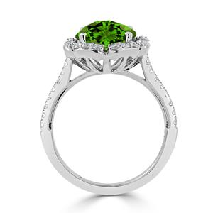 Halo Peridot Diamond Ring in 14K White Gold with 3.10 carat Round Peridot