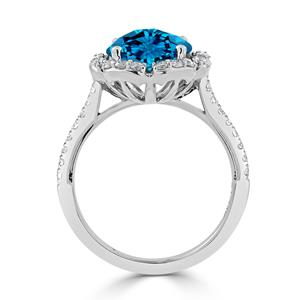 Halo Swiss Blue Topaz Diamond Ring in 14K White Gold with 3.10 carat Round Swiss Blue Topaz