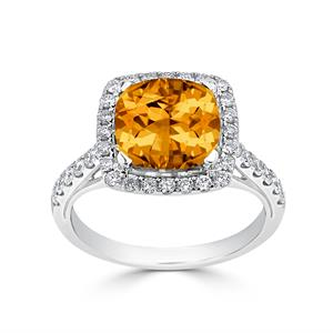 Halo Citrine Diamond Ring in 14K White Gold with 2.75 carat Cushion Citrine