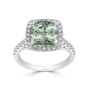 Halo Green Amethyst Diamond Ring in 14K White Gold with 1.90 carat Cushion Green Amethyst