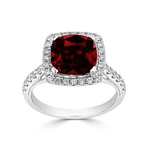 Halo Garnet Diamond Ring in 14K White Gold with 2.75 carat Cushion Garnet