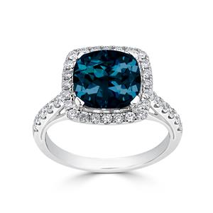 Halo London Blue Topaz Diamond Ring in 14K White Gold with 2.75 carat Cushion London Blue Topaz