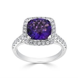Halo Purple Amethyst Diamond Ring in 14K White Gold with 1.90 carat Cushion Purple Amethyst