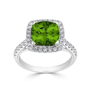 Halo Peridot Diamond Ring in 14K White Gold with 2.75 carat Cushion Peridot