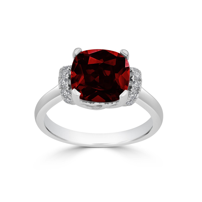 Halo Garnet Diamond Ring in 14K White Gold with 3.30 carat Cushion Garnet