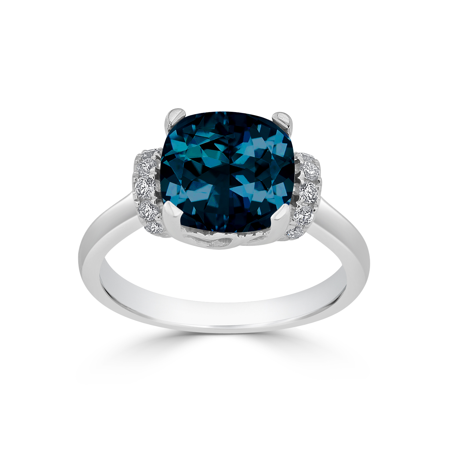 Halo London Blue Topaz Diamond Ring in 14K White Gold with 3.30 carat Cushion London Blue Topaz