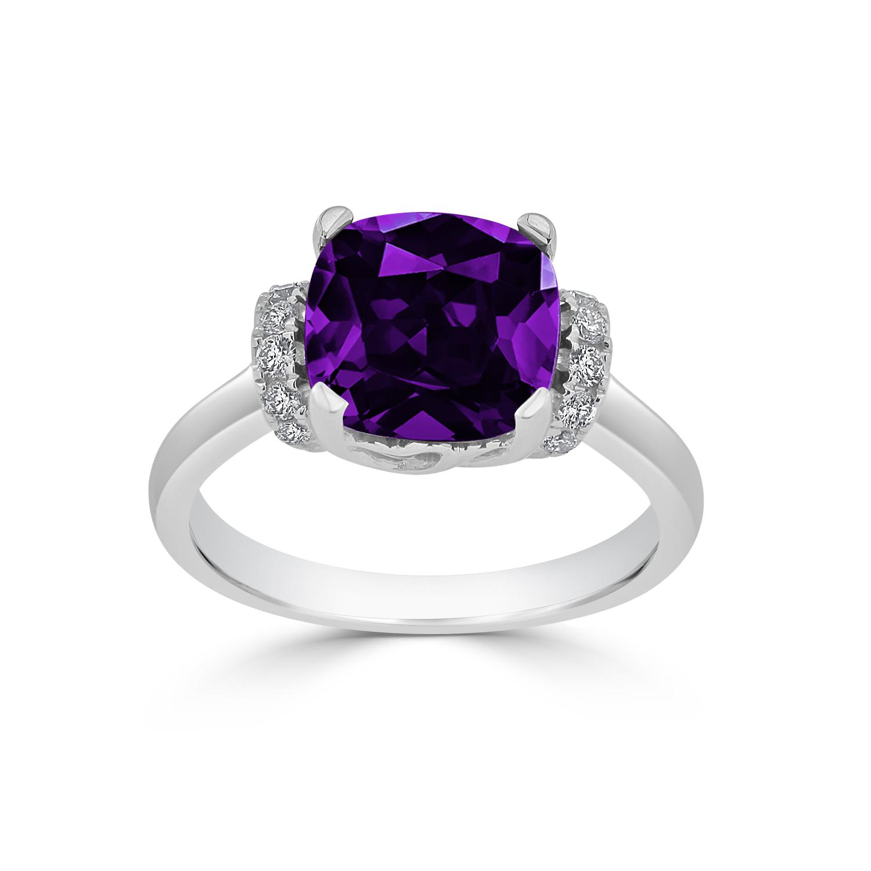 Halo Purple Amethyst Diamond Ring in 14K White Gold with 2.30 carat Cushion Purple Amethyst