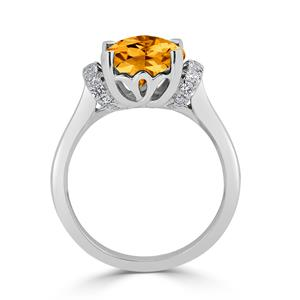 Halo Citrine Diamond Ring in 14K White Gold with 3.30 carat Cushion Citrine