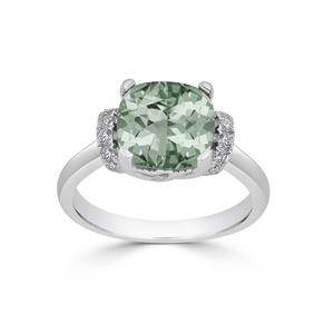 Halo Green Amethyst Diamond Ring in 14K White Gold with 2.30 carat Cushion Green Amethyst
