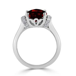 Halo Garnet Diamond Ring in 14K White Gold with 3.30 carat Cushion Garnet