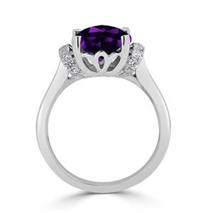 Halo Purple Amethyst Diamond Ring in 14K White Gold with 2.30 carat Cushion Purple Amethyst