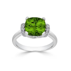 Halo Peridot Diamond Ring in 14K White Gold with 3.30 carat Cushion Peridot