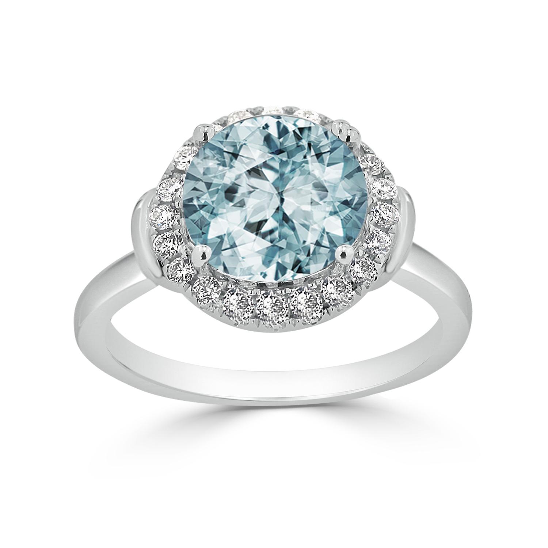 Halo Aquamarine Diamond Ring in 14K White Gold with 2.50 carat Round Aquamarine
