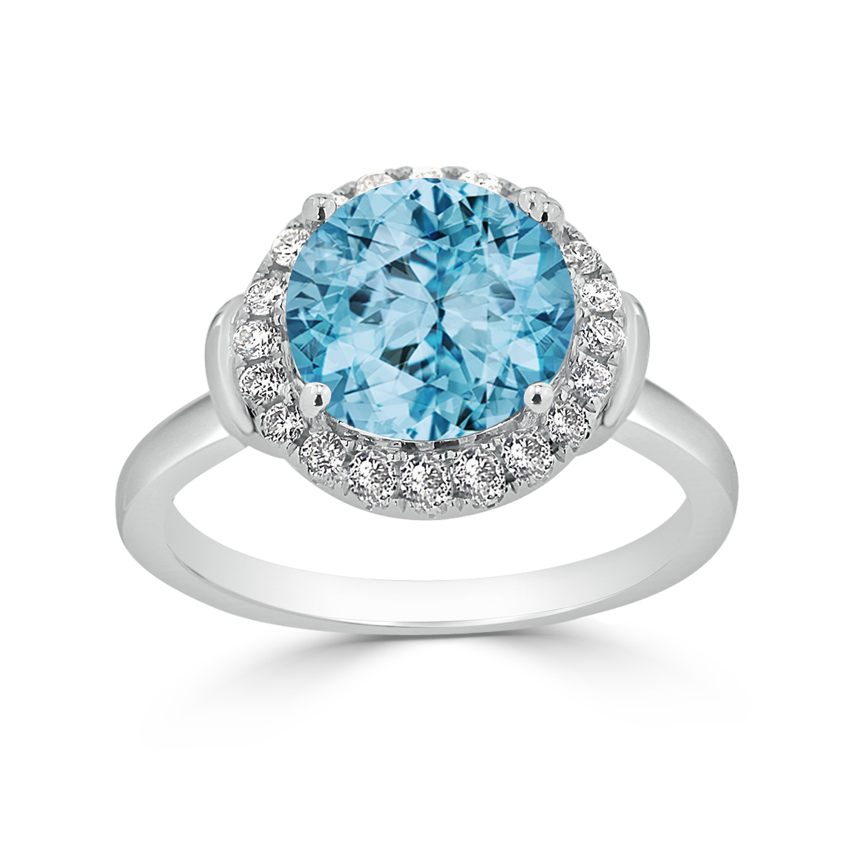 Halo Sky Blue Topaz Diamond Ring in 14K White Gold with 3.60 carat Round Sky Blue Topaz