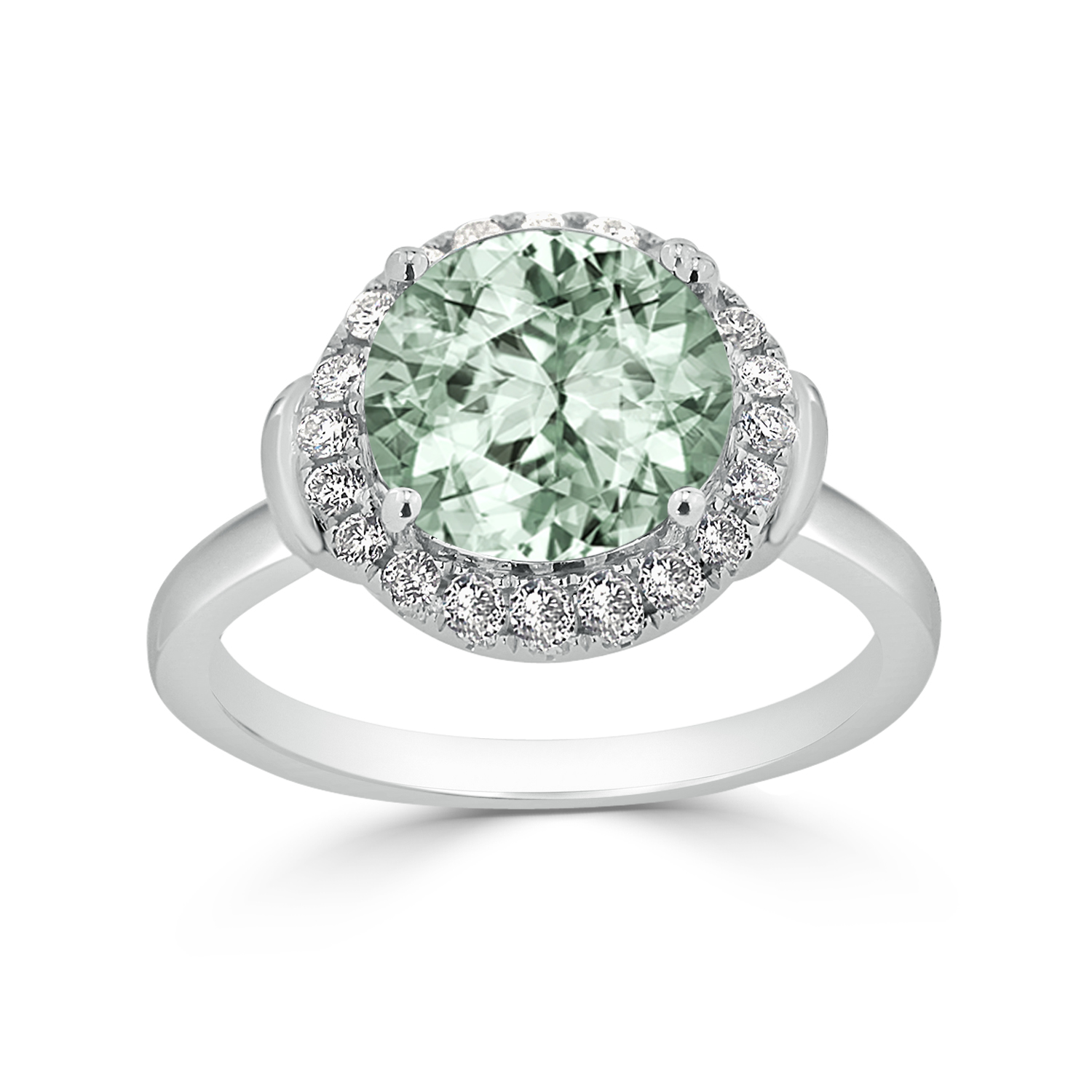 Halo Green Amethyst Diamond Ring in 14K White Gold with 2.50 carat Round Green Amethyst