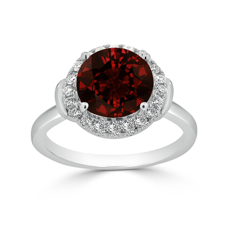 Halo Garnet Diamond Ring in 14K White Gold with 3.60 carat Round Garnet