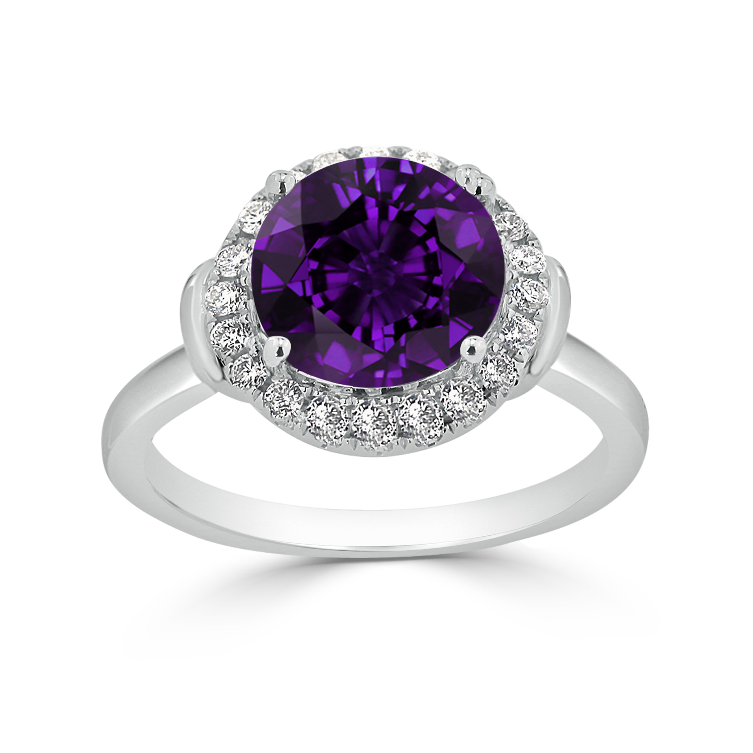 Halo Purple Amethyst Diamond Ring in 14K White Gold with 2.50 carat Round Purple Amethyst