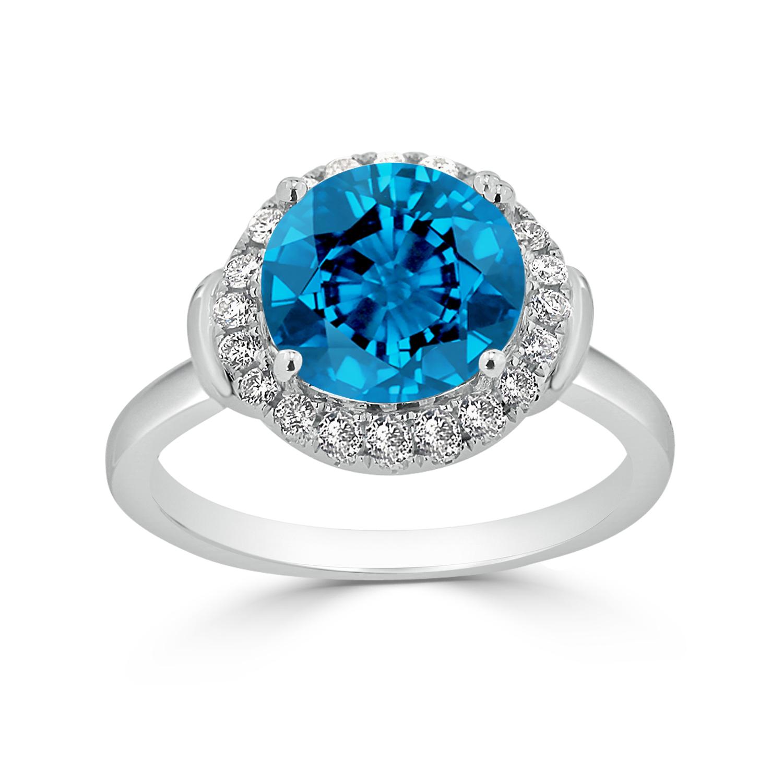 Halo Swiss Blue Topaz Diamond Ring in 14K White Gold with 3.60 carat Round Swiss Blue Topaz