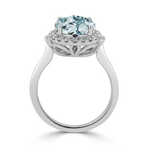 Halo Aquamarine Diamond Ring in 14K White Gold with 2.50 carat Round Aquamarine