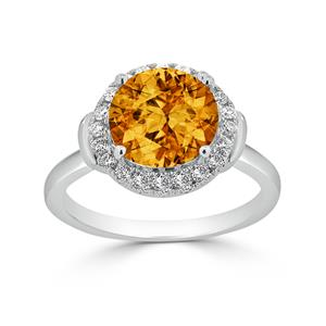 Halo Citrine Diamond Ring in 14K White Gold with 3.60 carat Round Citrine