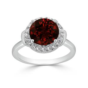 Halo Garnet Diamond Ring in 14K White Gold with 3.60 carat Round Garnet