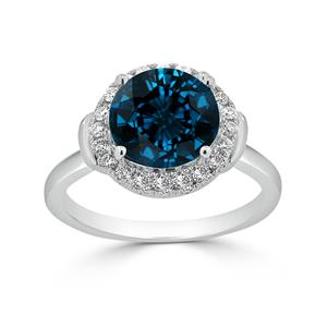 Halo London Blue Topaz Diamond Ring in 14K White Gold with 3.60 carat Round London Blue Topaz