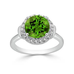Halo Peridot Diamond Ring in 14K White Gold with 3.60 carat Round Peridot